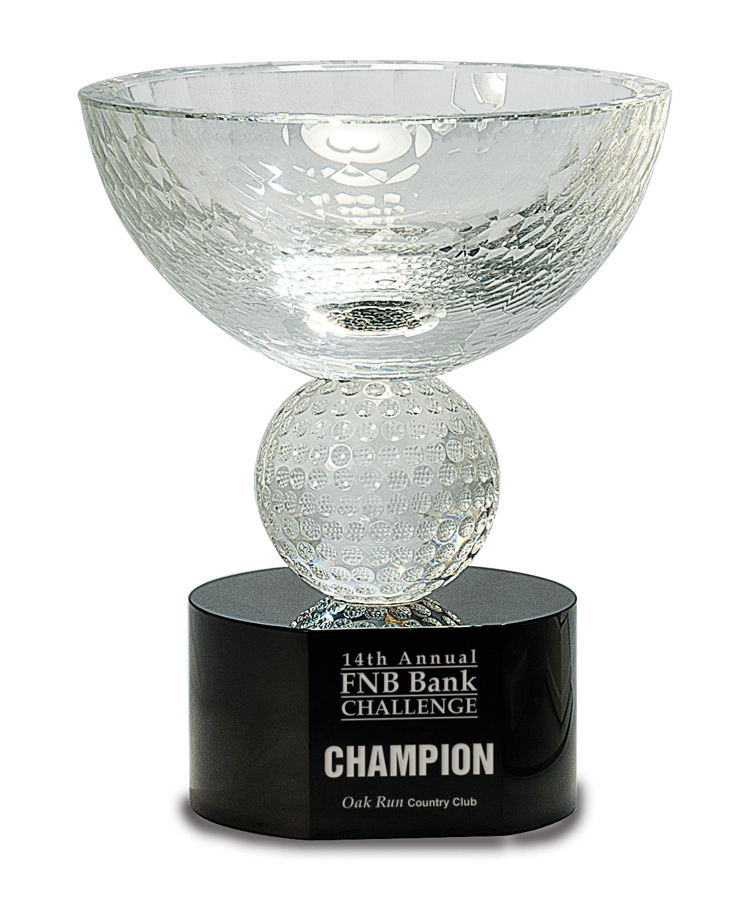 Crystal Award - Golf Crystal - Bowl Golf Crystal