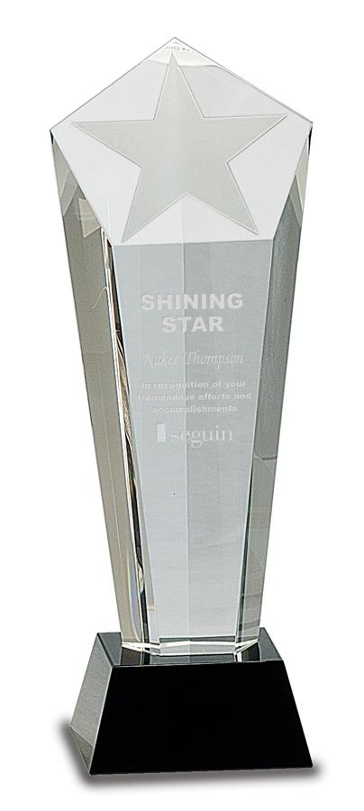 Crystal Award - Star Crystal - Black Pedestal
