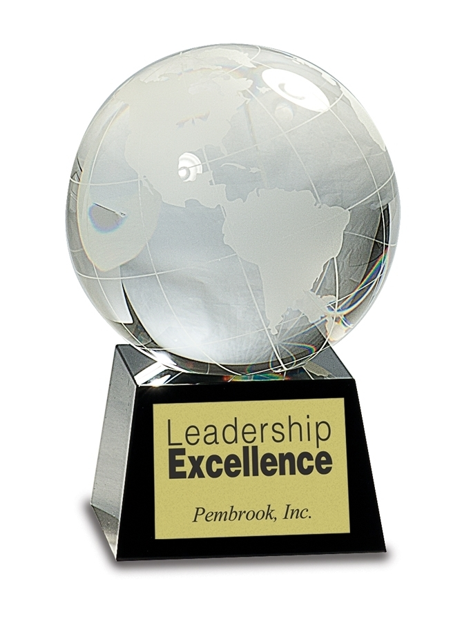 Crystal Award - Globes Crystal - Black Pedestal