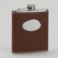 VIP Brown Flask w/Oval Plate 7 oz